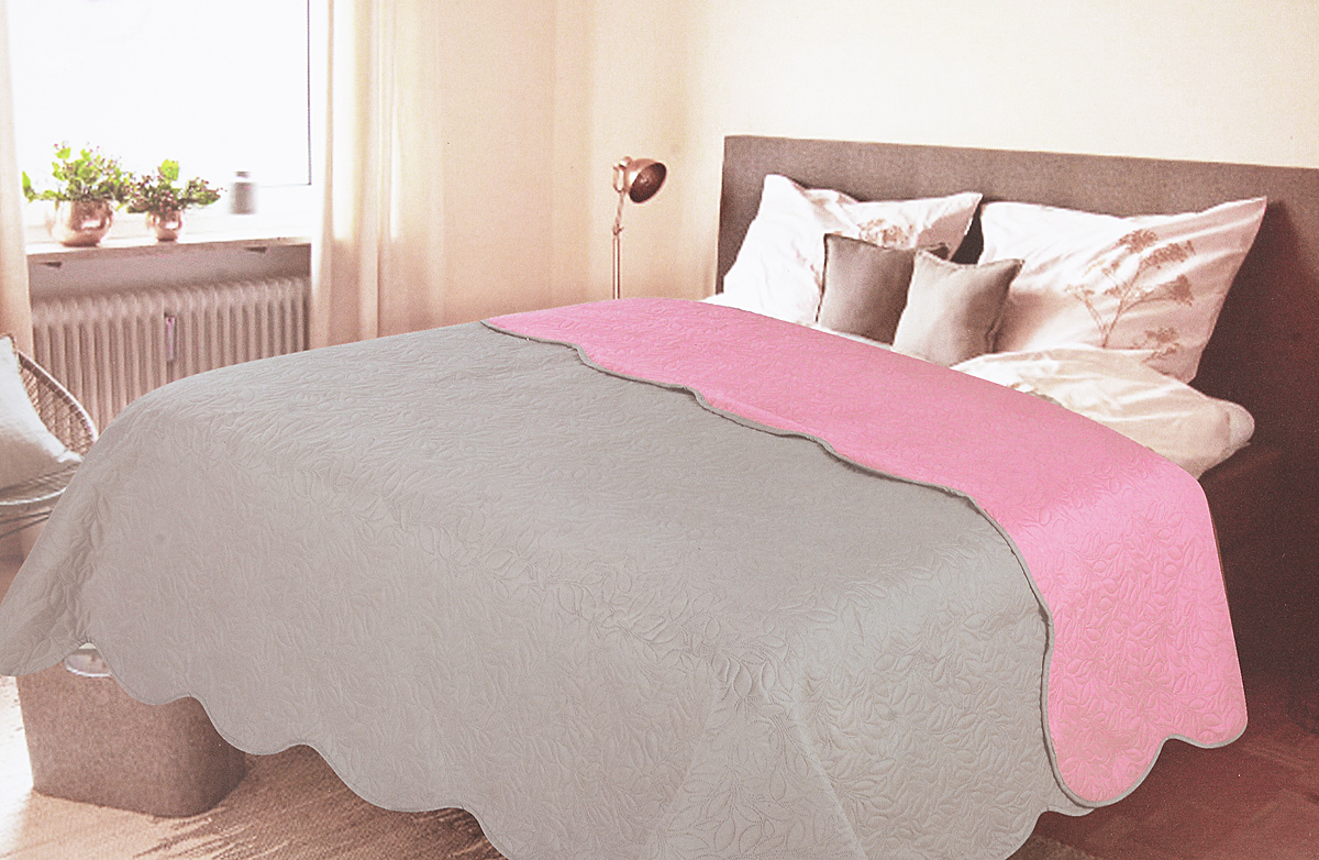 Покрывало Amore Mio Alba, цвет: серый, розовый, 200 х 220 см