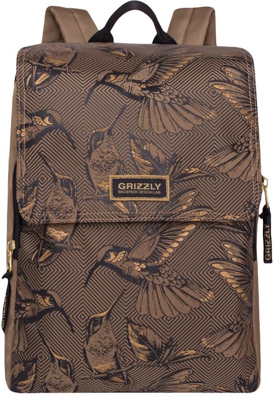 Рюкзак городской Grizzly, цвет: бежевый. RD-831-1/2RD-831-1/2Рюкзак молодежный, одно отделение, клапан на липучках, объемный карман на молнии на передней стенке, боковой карман, внутренний карман на молнии, укрепленная спинка, дополнительная ручка-петля.