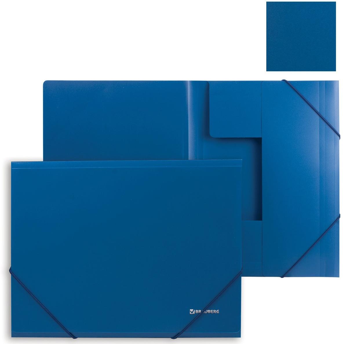 Brauberg Папка на резинках Стандарт цвет синий 221623221623Предназначена для хранения документов. Клапаны папки надежно удерживают документы внутри. Резинки плотно закрывают папку. Изготовлена из плотного непрозрачного пластика.