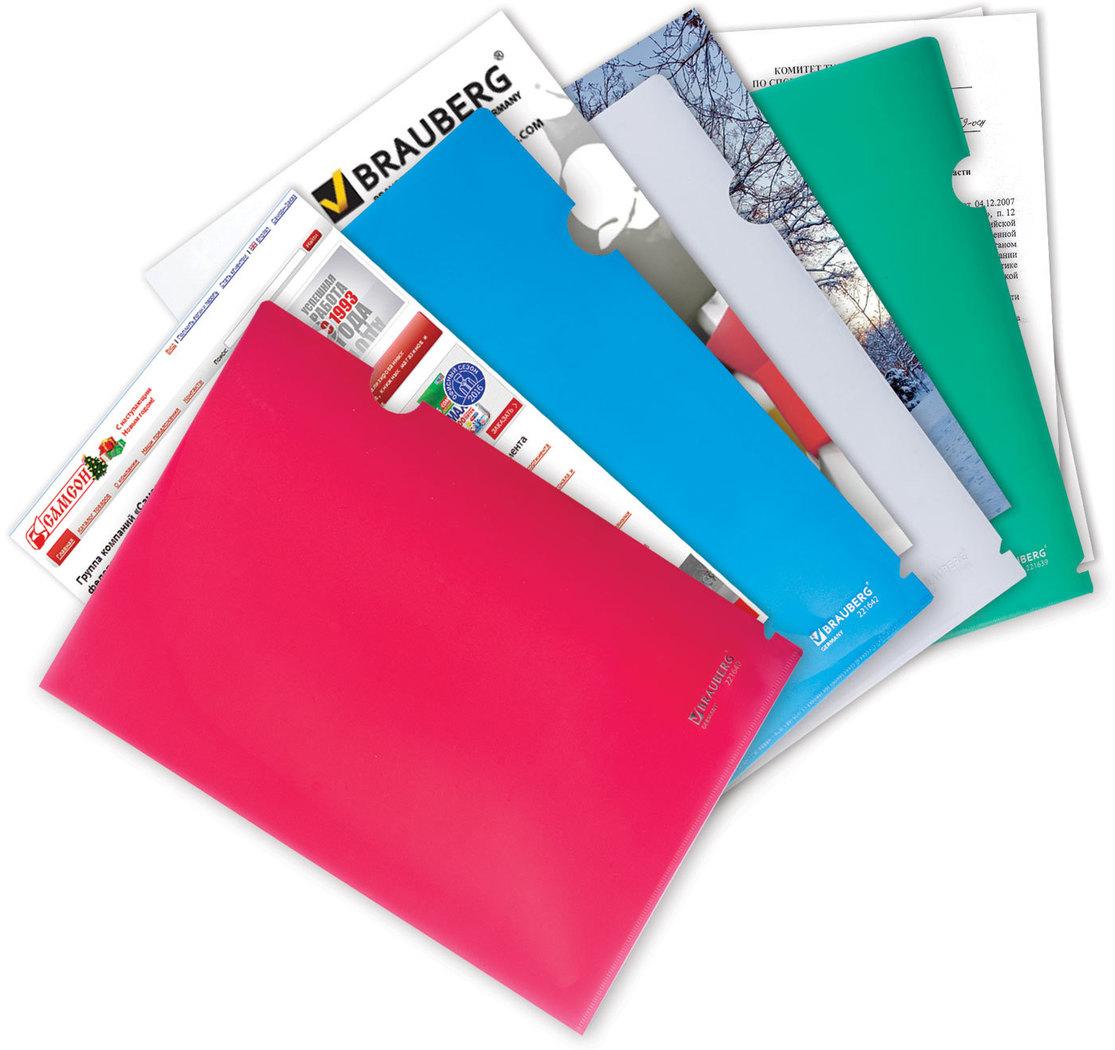 Brauberg Папка-уголок цвет зеленый 221639221639Папка из плотного прозрачного и тонированного пластика. Для хранения и транспортировки документов. Имеет специальный вырез для удобного извлечения бумаг.