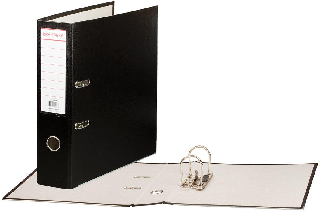 Brauberg Папка-регистратор цвет черный 226595226595Папка-регистратор Brauberg изготовлена из плотного картона, ламинированного цветной яркой пленкой из полипропилена. Нижние края папки защищены металлическим уголком. Служит в 2 раза дольше по сравнению с обычными картонными папками.