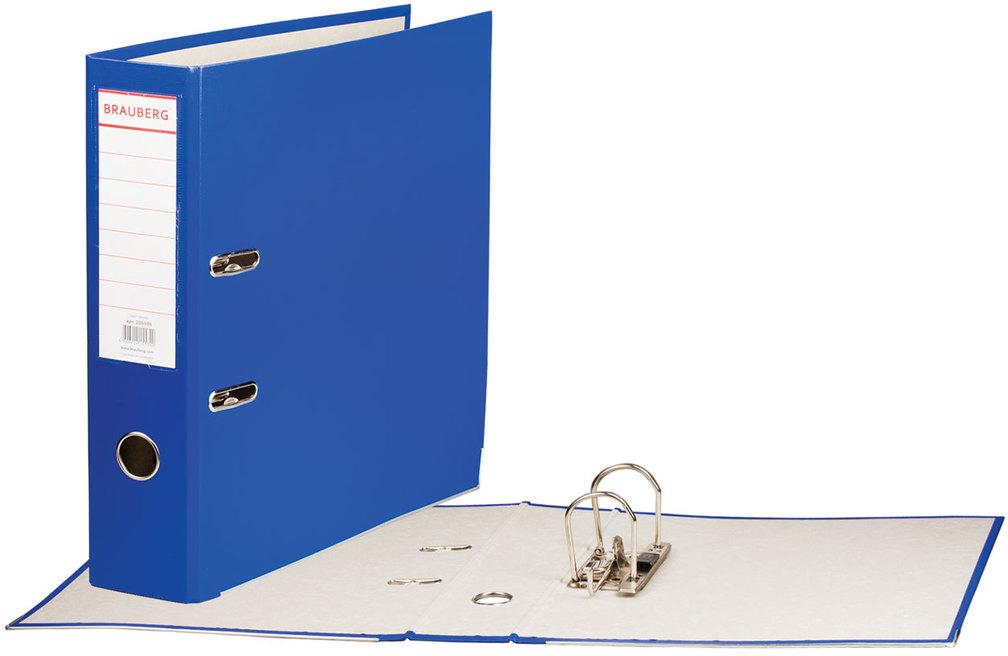 Brauberg Папка-регистратор цвет синий 226596226596Папка-регистратор Brauberg изготовлена из плотного картона, ламинированного цветной яркой пленкой из полипропилена. Нижние края папки защищены металлическим уголком. Служит в 2 раза дольше по сравнению с обычными картонными папками.