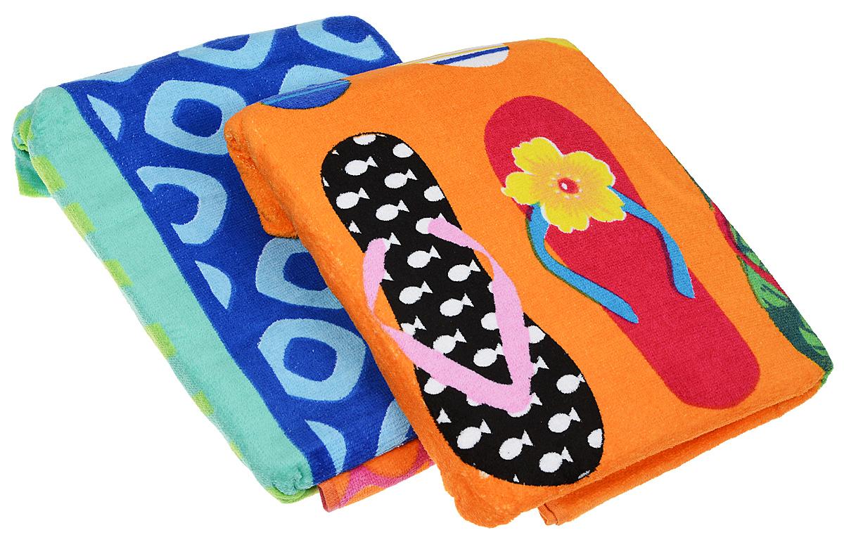 Набор пляжных полотенец Bonita Сланцы, цвет: синий, 75 х 150 см, 2 шт1010216818_синий, сланцыНабор пляжных полотенец Bonita Сланцы, цвет: синий, 75 х 150 см, 2 шт