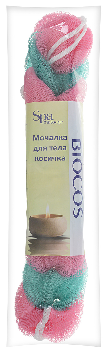 BioCos Мочалка для тела Косичка, цвет: розовый, зеленый5955_розовый зеленыйМочалка для тела BioCos Косичка обладает тонизирующим эффектом. Подходит для ежедневного применения. Деликатно и нежно очищает кожу, легко вспенивает даже небольшое количество геля или мыла. Обладает приятным отшелушивающим эффектом, мочалка массирует кожу, снимая усталость и напряжение. Служит долго, сохраняя свою первоначальную форму.Перед использованием размочить в горячей воде. После применения тщательно промыть под струей воды и высушить.Состав: безузловая сетка.