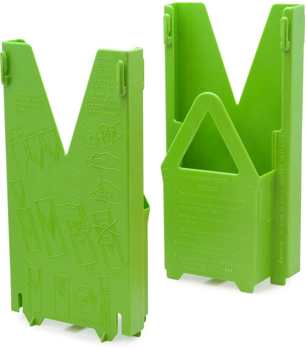 Мультибокс этой модели подходит только для овощерезки «Классика». Он создан для удобного и безопасного хранения комплекта из 5-ти предметов: основной рамы, трёх вставок с очень острыми ножами и плододержателя. Овощерезку в мультибоксе можно поставить на стол или повесить на стену, и ваша любимая тёрка будет у вас всегда под руками, притом в полной сохранности. Мультибокс имеет стоп-фиксатор, не позволяющий маленькому ребенку вытащить из него основную раму с острыми ножами.
