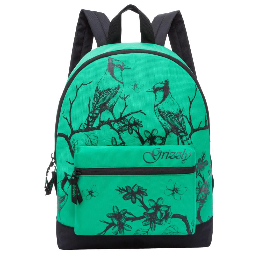 Рюкзак городской Grizzly, цвет: зеленый. RL-855-1/3RL-855-1/3Рюкзак молодежный, одно отделение, объемный карман на молнии на передней стенке, внутренний подвесной карман на молнии, укрепленная спинка, дополнительная ручка-петля, укрепленные лямки.
