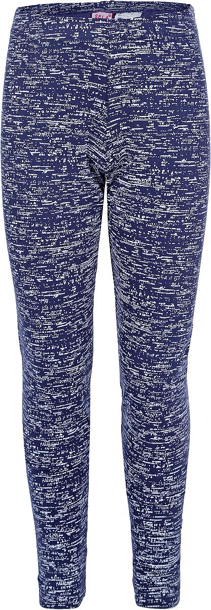 Леггинсы для девочки Sela, цвет: синий, белый. PLG-615/1049-8161. Размер 152, 12 лет брюки для девочки sela цвет фиолетово синий p 615 1050 8161 размер 152 12 лет
