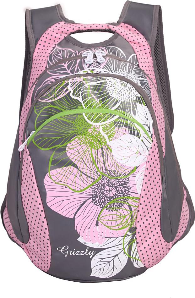 Рюкзак городской Grizzly, цвет: серый, розовый. RD-831-2/1RD-831-2/1Рюкзак молодежный, два отделения, карман на молнии на передней стенке, внутренний карман-пенал для карандашей, анатомическая спинка, мягкая укрепленная ручка, укрепленные лямки.