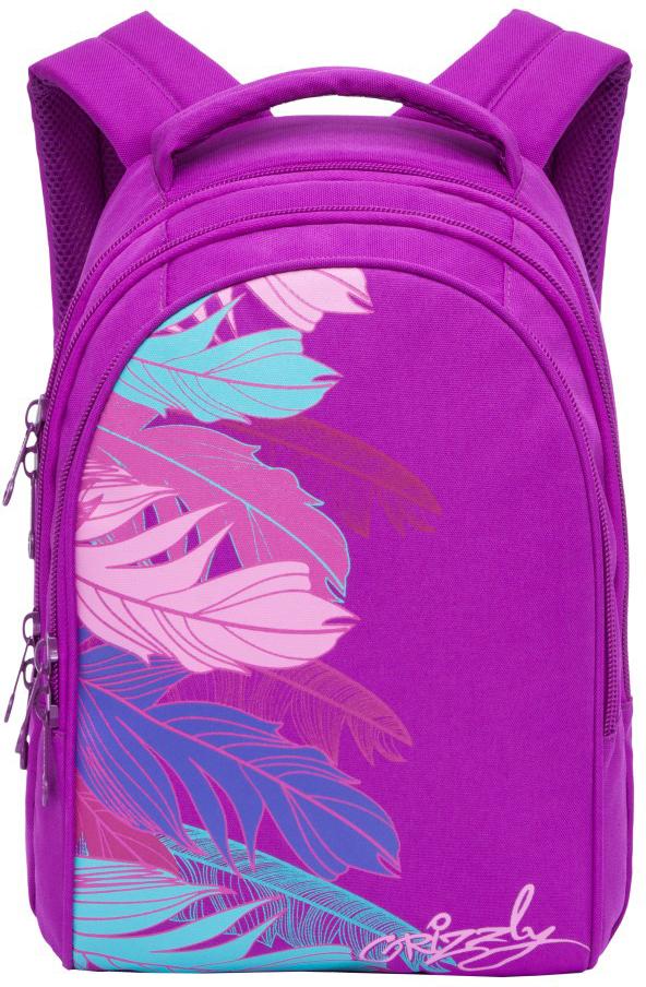 Рюкзак городской Grizzly, цвет: лиловый. RD-836-2/2RD-836-2/2Рюкзак молодежный, три отделения, внутренний карман на молнии, внутренний карман-пенал для карандашей, жесткая анатомическая спинка, мягкая укрепленная ручка, укрепленные лямки.