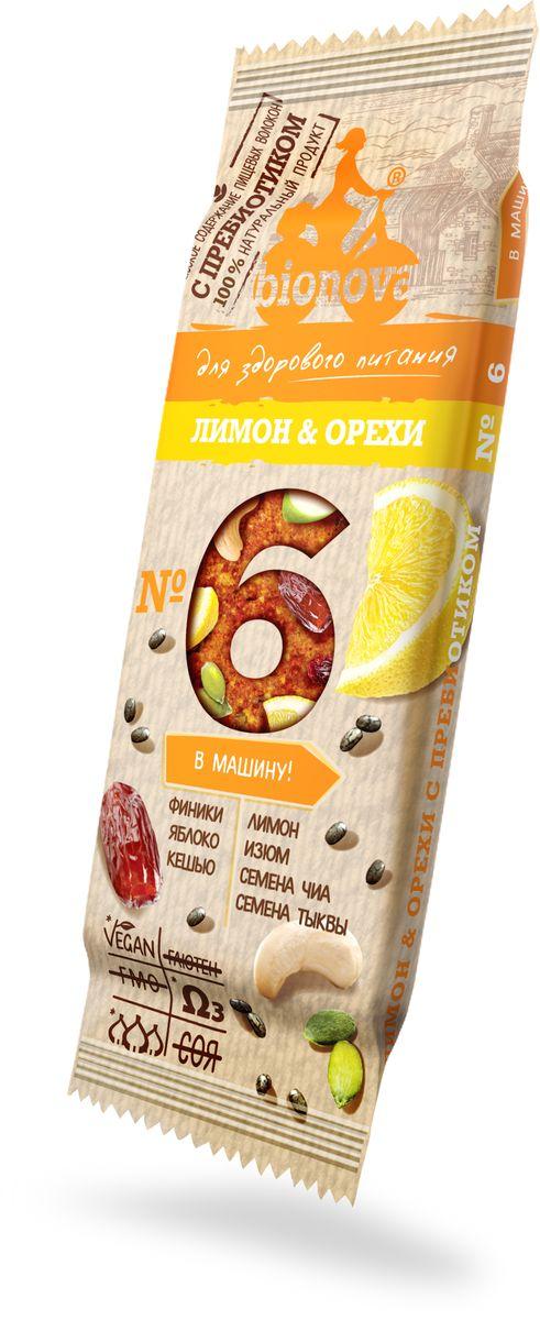 Bionova фруктово-ореховый батончик с лимоном и орехами, 35 г щербет тимоша молочно ореховый 250г