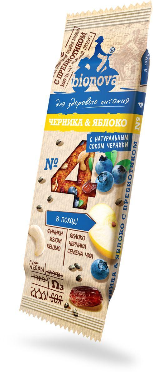 Bionova фруктово-ореховый батончик с черникой и яблоком, 35 г щербет тимоша молочно ореховый 250г