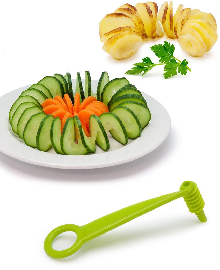 """С ножом-декоратором """"Borner"""" вы моментально сделаете из обычных овощей настоящие произведения искусства. Компактный и простой в использовании он поможет вам быстро и аккуратно нарезать спиральные гирлянды из огурца, моркови, картофеля, свёклы - как сырых, так и вареных плотных овощей. Декоратор изготовлен из экологичного и стойкого к пищевым кислотам пищевого ABS-пластика. Он обязательно станет незаменимым и любимым помощником при оформлении праздничных блюд."""