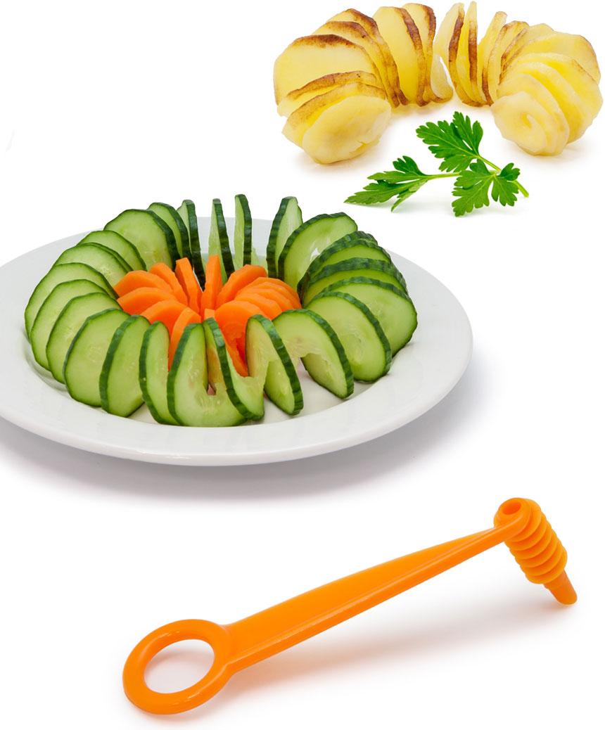 Нож-декоратор Borner для спиральной нарезки, цвет: оранжевый