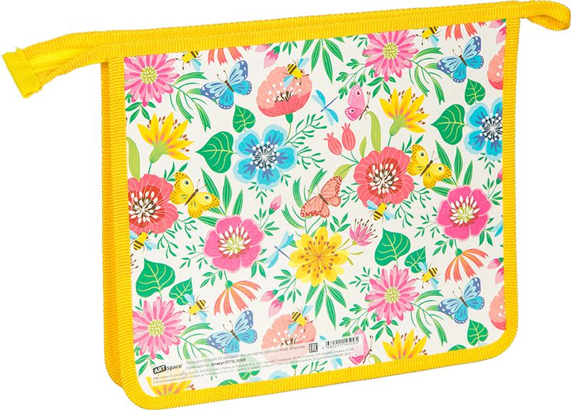 ArtSpace Папка для тетрадей Цветы А5 на молнии цвет желтый зеленыйПТ-715_16509Удобная папка из плотного яркого экологически чистого материала с красочным рисунком