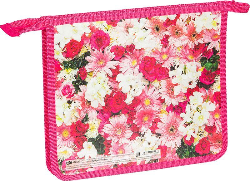ArtSpace Папка для тетрадей Цветы А5 на молнии цвет розовыйПТ-715_16516Удобная папка из плотного яркого экологически чистого материала с красочным рисунком