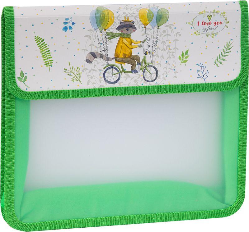 ArtSpace Папка для тетрадей Детские персонажи А5 2 отделения на липучке цвет зеленыйПТ-95_15603Удобная папка для тетрадей, школьных канцелярских принадлежностей формата А5, имеет два отделения