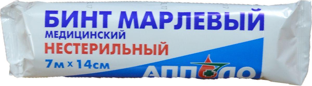 Апполо Бинт нестерильный, 7 м х 14 смМС104267Бинты марлевые медицинские стерильные и нестерильные по ГОСТ 1172-93 следующих типоразмеров: 5м х 5см; 5м х 7см; 5м х 10см; 7м х 14см; 10м х 16см. РУ № ФСР 2007/00081 от 10.05.2007г. Бинт марлевый нестерильный Апполо производится из медицинской хлопчатобумажной отбеленной марли по ГОСТ 1172-93. Применяется для фиксации и наложения повязок в случаях, когда нет прямого контакта бинта с открытой раневой поверхностью. Упаковывается в полимерную упаковку, которая отличается хорошим внешним видом, не повреждается при транспортировке, пыле- и влагонепроницаема.