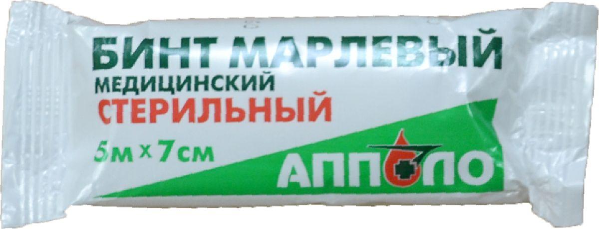 Апполо Бинт стерильный, 5 м х 7 см салфетки марлевые стерильные 7 5 7 5 см n10
