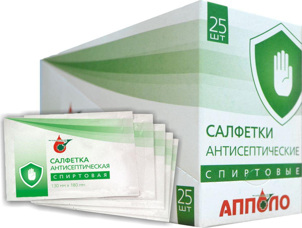 Апполо Салфетка антисептическая спиртовая для дезинфекционной обработки тела, приборов и других поверхностей, 13 х 18 см Апполо