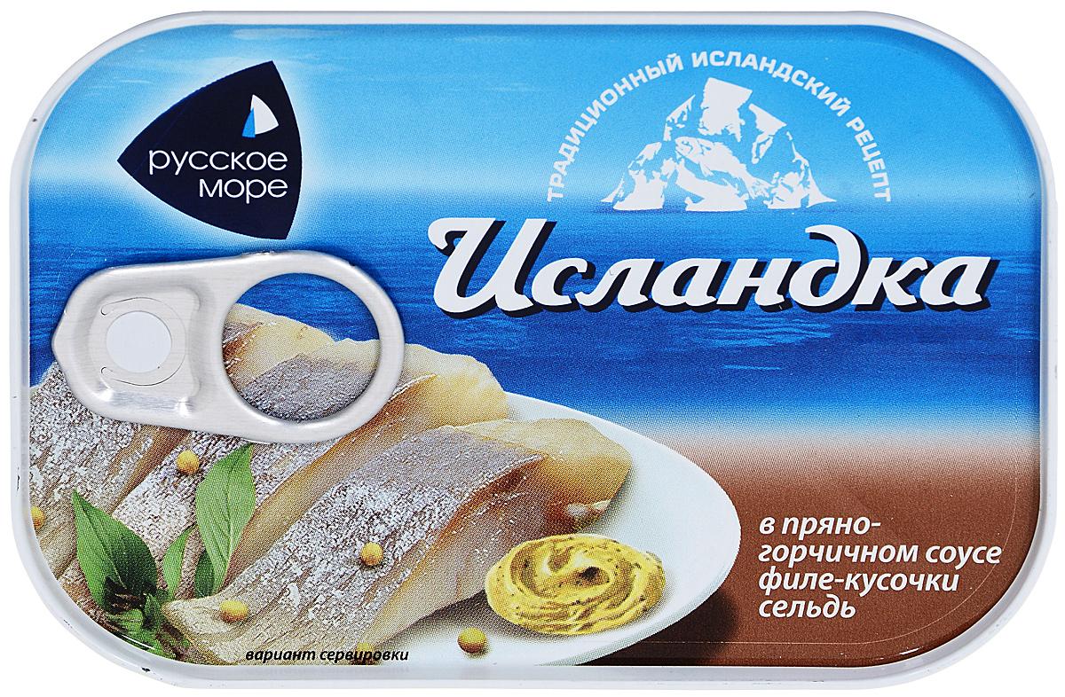 Русское Море Исландка Сельдь атлантическая филе-кусочки в пряно-горчичном соусе, 115 г