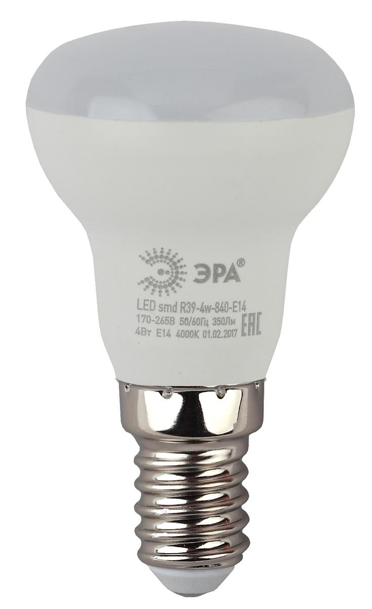 Лампа светодиодная ЭРА, цоколь E14, 4W, 4000K. R39-4w-840-E14 лампа светодиодная эра led smd bxs 7w 840 e14 clear