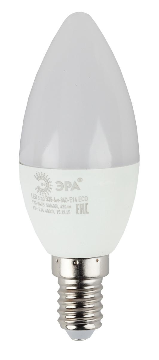 Лампа светодиодная ЭРА Eco, цоколь E14, 6W, 2700K. B35-6w-827-E14_ecoБ0020618Светодиодная лампа ЭРА Eco является перспективным источником света. Основным преимуществом данного источника света является длительный срок службы и очень низкое энергопотребление.