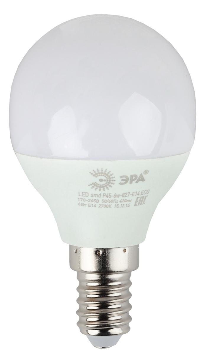 Лампа светодиодная ЭРА Eco, цоколь E14, 6W, 2700K. Р45-6w-827-E14_eco лампа светодиодная эра r50 eco