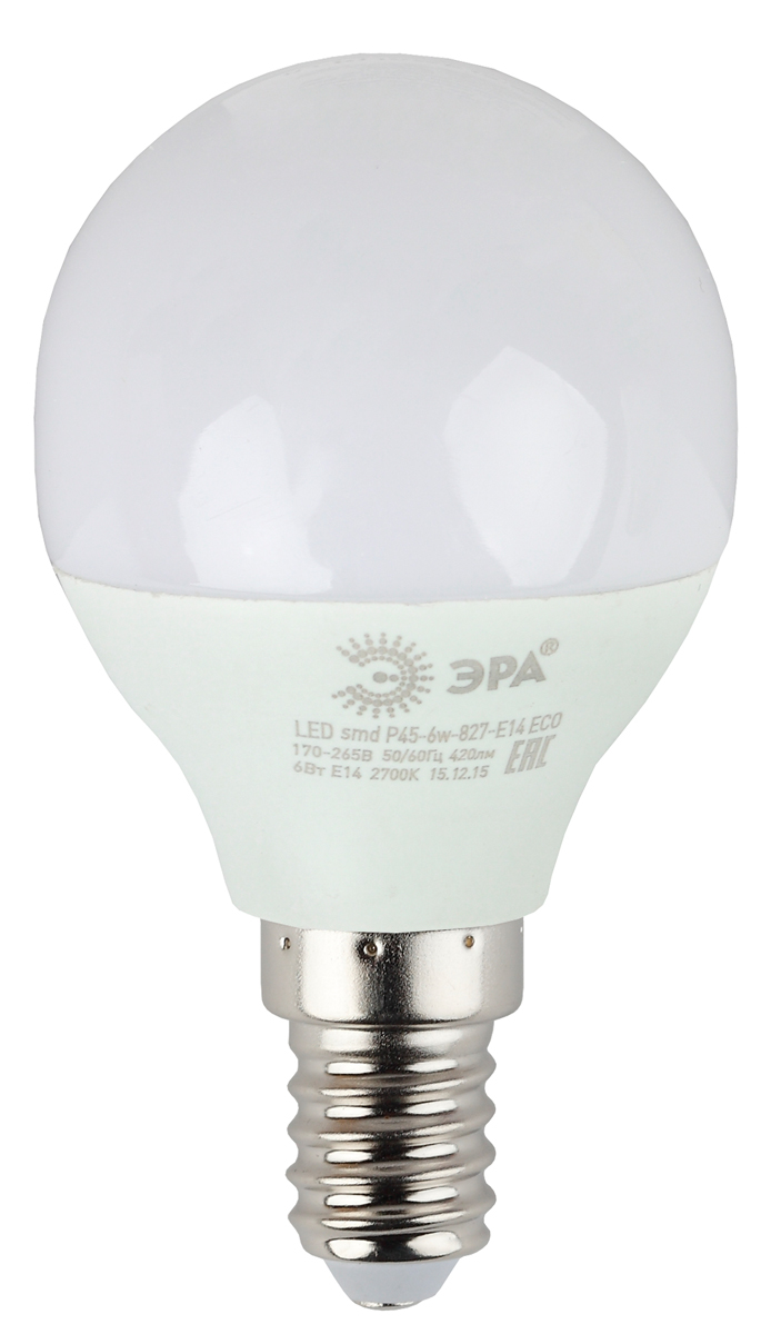 Лампа светодиодная ЭРА Eco, цоколь E14, 6W, 4000K. Р45-6w-840-E14_eco лампа светодиодная маяк c30 e14 6w 4000k