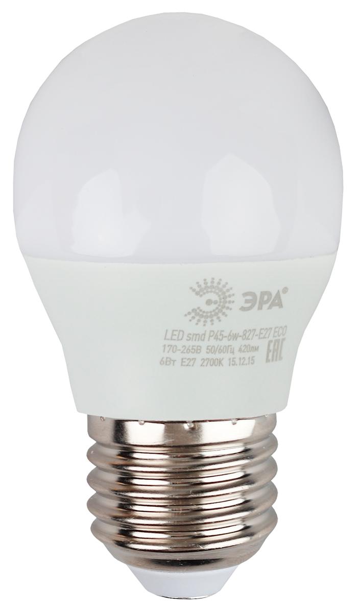 Лампа светодиодная ЭРА Eco, цоколь E27, 6W, 4000K. Р45-6w-840-E27_eco лампа светодиодная эра r50 eco