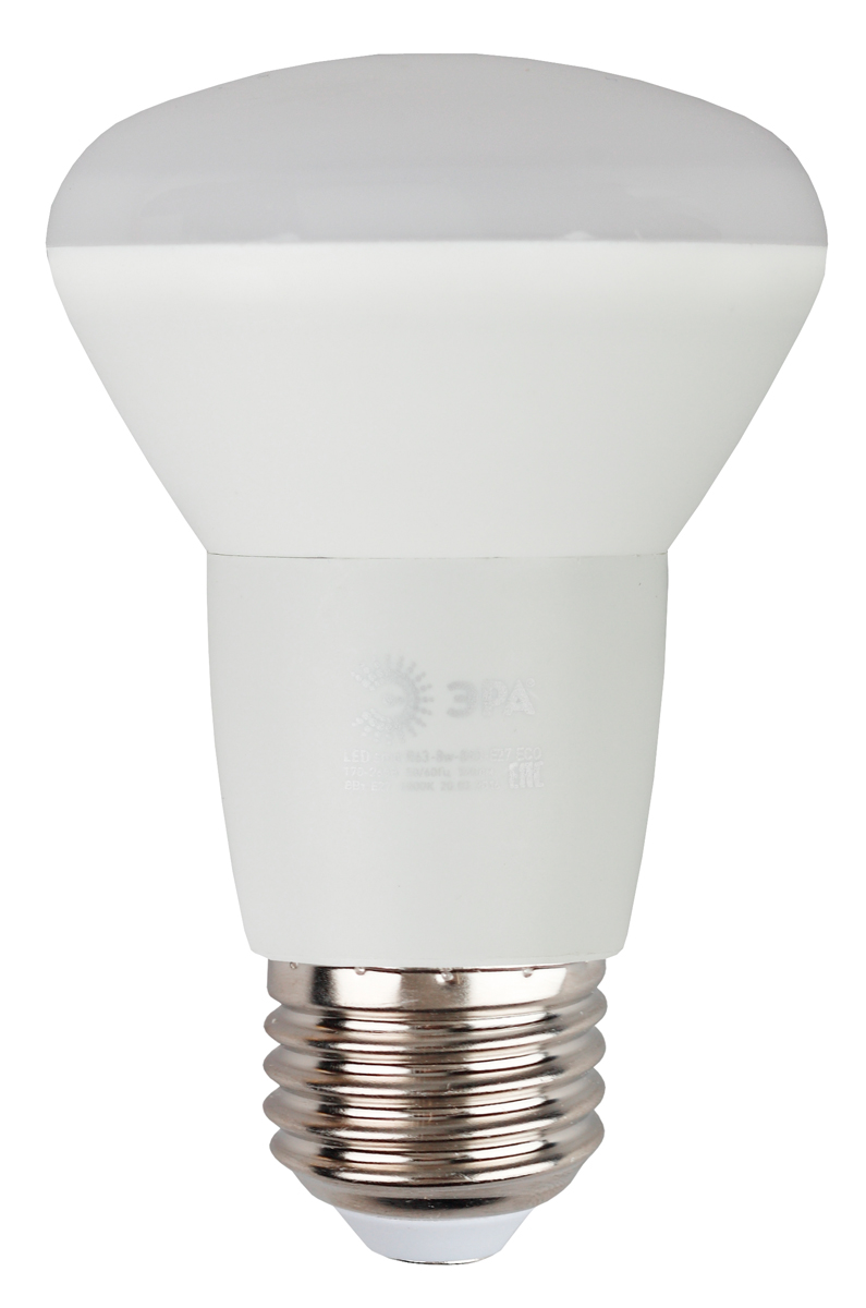 Лампа светодиодная ЭРА Eco, цоколь E27, 8W, 4000K. R63-8w-840-E27_eco фонарь брелок эра 1xled с лазерной указкой