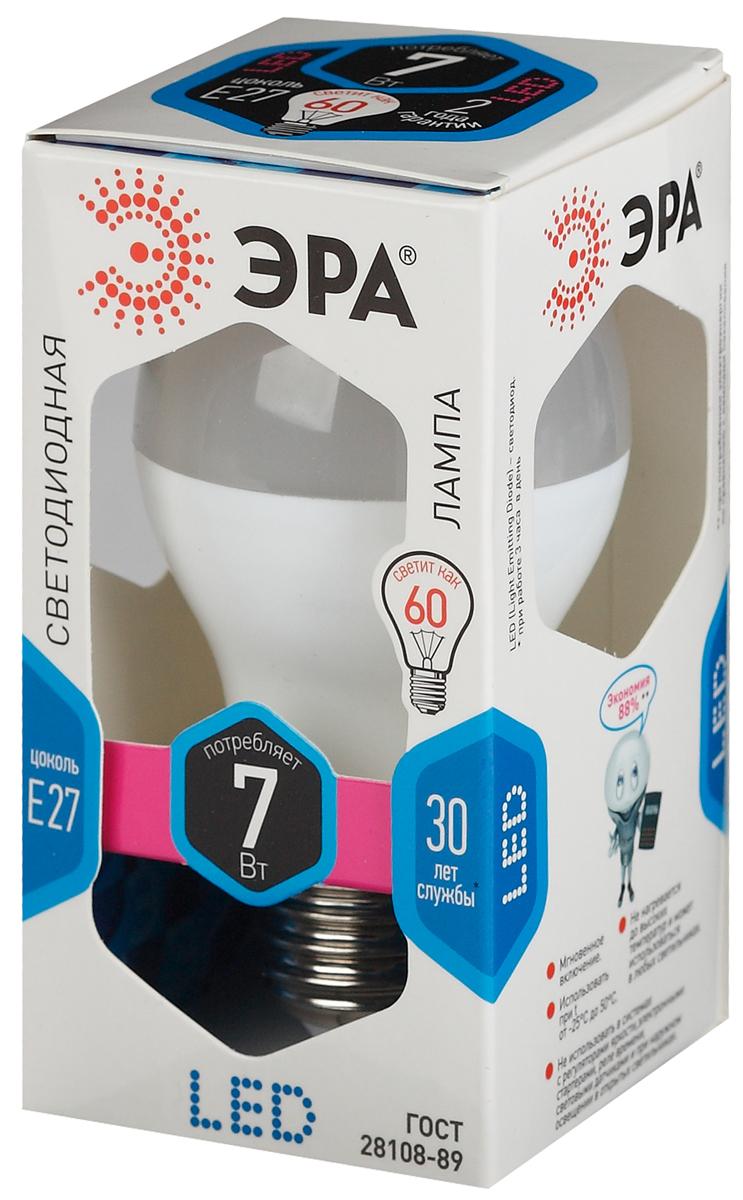 Лампа светодиодная ЭРА, цоколь E27, 7W, 4000K. A60-7w-840-E27Б0029820Светодиодная лампа ЭРА является перспективным источником света. Основным преимуществом данного источника света является длительный срок службы и очень низкое энергопотребление.