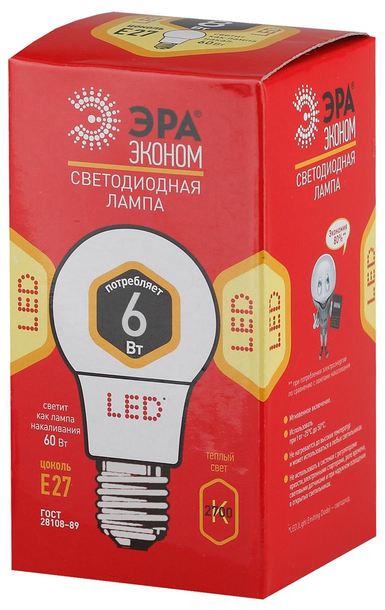 Лампа светодиодная ЭРА Eco, цоколь E27, 6W, 2700K. A60-6w-827-E27_eco mw light mw 509023801