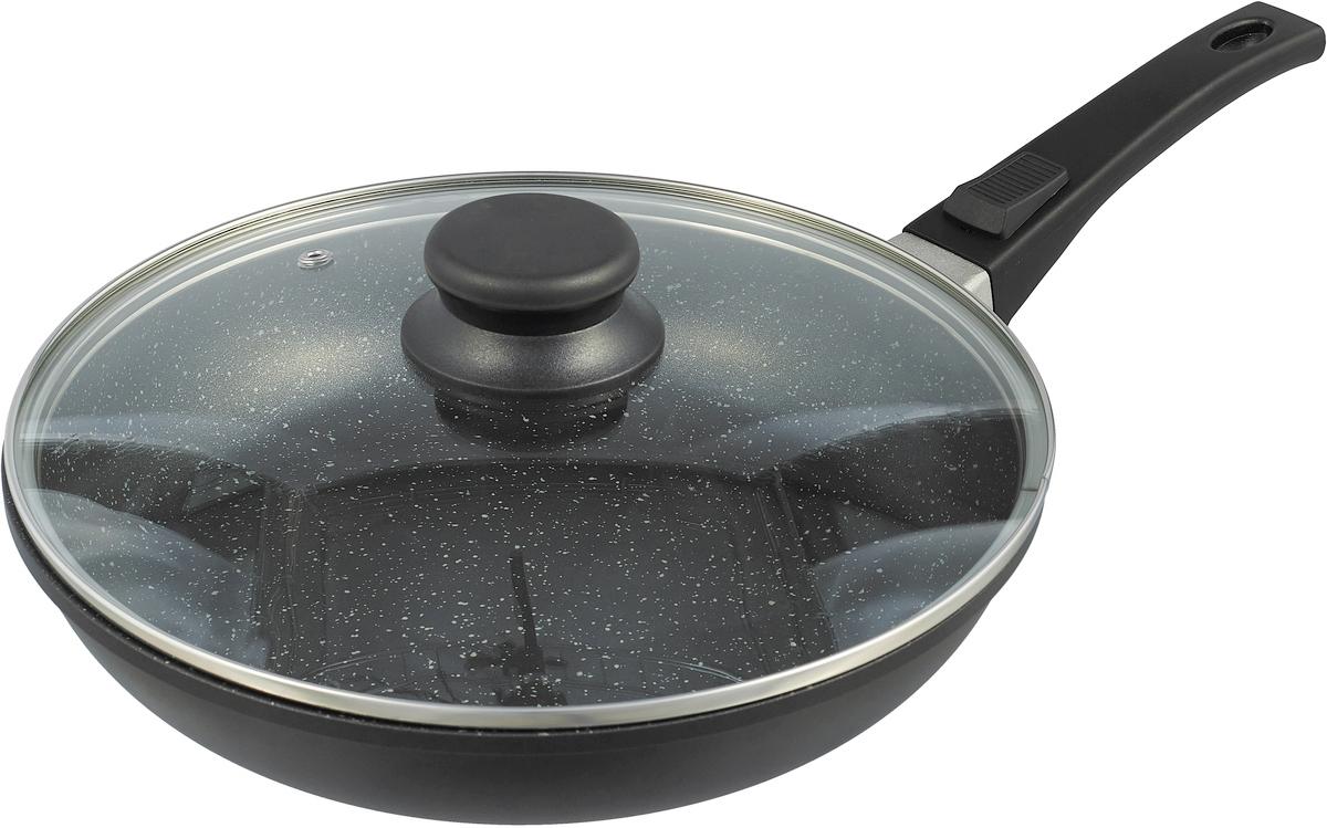 Сковорода Travola, с крышкой, со съемной ручкой, с мраморным покрытием. Диаметр 26 смXGP-26FP01Сковорода Travola изготовлена из высококачественного алюминия с внутренним мраморным покрытием. С таким покрытием пища не пригорает и посуда легко моется. Благодаря прочному дну происходит идеальное и равномерное распределение тепла.Сковорода имеет удобную съемную ручку, изготовленную из высококачественного бакелитаи стеклянную крышку.Подходит для газовых, электрических, керамических и индукционных плит. Диаметр сковороды (по верхнему краю): 27 см. Внутренний диаметр сковороды: 26 см. Диаметр дна: 19 см. Толщина стенок: 0,5 см. Высота стенок: 5,5 см. Длина ручки: 19 см.*Победитель номинации Лучшая собственная торговая марка в сегменте Online.Премия Private Label Awards (by IPLS) - международная премия в области собственных торговых марок, созданная компанией Reed Exhibitions в рамках выставки Собственная Торговая Марка (IPLS) 2016 с целью поощрения розничных сетей, а также производителей продовольственных и непродовольственных товаров за их вклад в развитие качественных товаров private label, которые способствуют росту уровня покупательского доверия в России и СНГ.