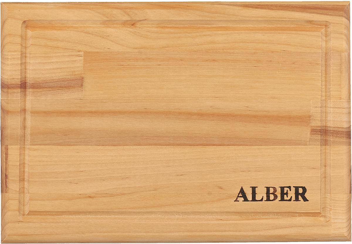 Alber - российская торговая марка кухонных аксессуаров из натуральной российской березы.  Доски из березы  Alber отличает отменное качество, будь то обычная, без затей, круглая доска или прямоугольная доска с канавкой  и металлической ручкой.  Прочные, гладкие, с естественной березовой текстурой, доски обработаны льняным  маслом для предохранения от рассыхания.  Изделия имеют индивидуальную пленочную упаковку и  оригинальную гравировку, придающую доскам особый шик. Чтобы деревянное изделие прослужило как можно  дольше, рекомендуем придерживаться нескольких простых правил:   - нельзя мыть деревянную доску в посудомоечной машине, а также оставлять надолго погруженной в воду;  - после каждого использования нужно промыть доску мыльной водой, тщательно сполоснуть проточной водой и  вытереть насухо;  - хранить доски лучше в подвешенном состоянии или просто поставив вертикально;  - новую сухую доску (если она не обработана) перед началом нужно смазать маслом; масло должно быть  безопасным и устойчивым к порче при комнатной температуре (оптимальный вариант - льняное масло, в отличие  от подсолнечного или оливкового, которые со временем портятся); повторять эту процедуру необходимо в  среднем раз в месяц - по мере высыхания масла;  - заменять разделочную доску на кухне рекомендуется 1 раз в год.  Уважаемые клиенты! Обращаем ваше внимание на то, что упаковка может иметь несколько видов дизайна. Поставка  осуществляется в зависимости от наличия на складе.
