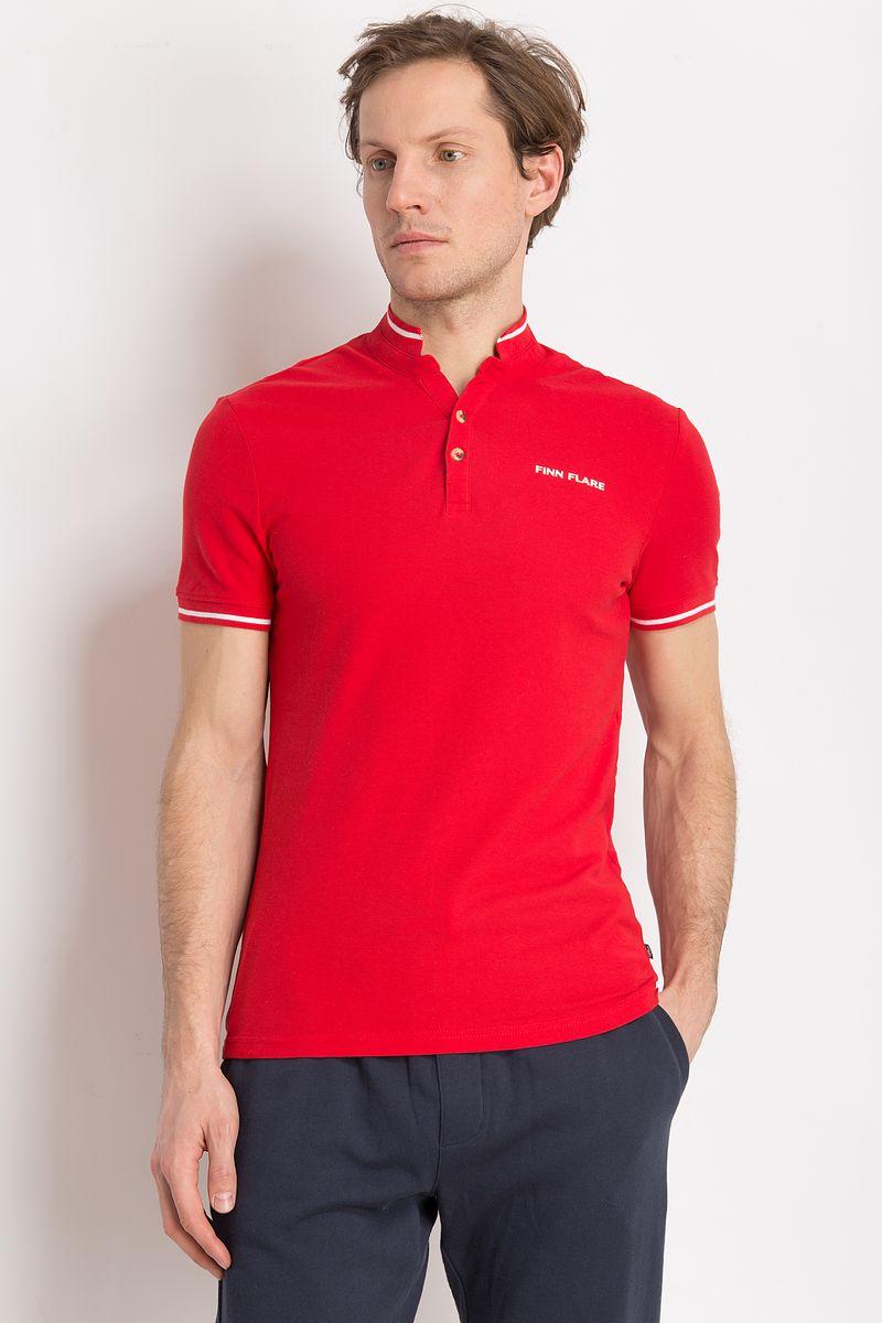 Рубашка-поло мужская Finn Flare, цвет: красный. B18-21039. Размер 3XL (56) рубашка мужская finn flare цвет голубой b18 21023 размер 4xl 58