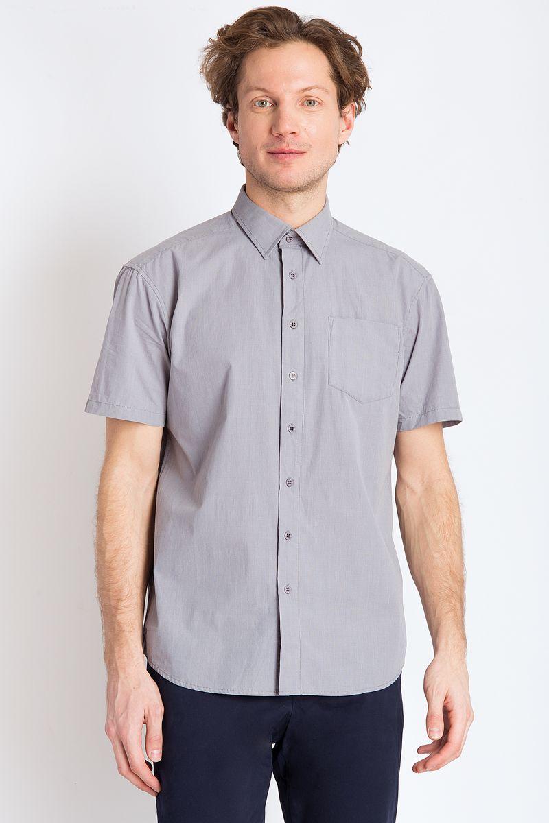 Рубашка мужская Finn Flare, цвет: серый. B18-21026. Размер 4XL (58) рубашка мужская finn flare цвет голубой b18 21023 размер 4xl 58