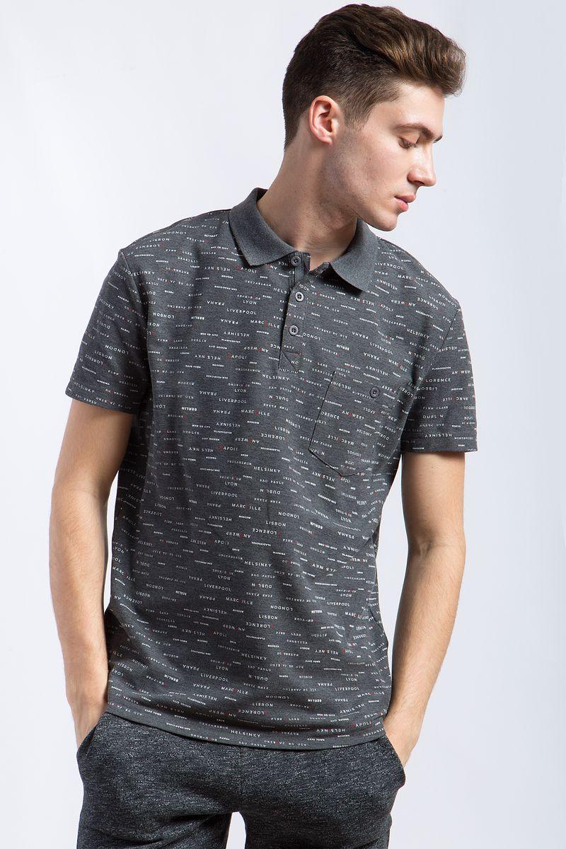 Поло мужское Finn Flare, цвет: темно-серый. B18-21034. Размер 3XL (56) рубашки timberland рубашка