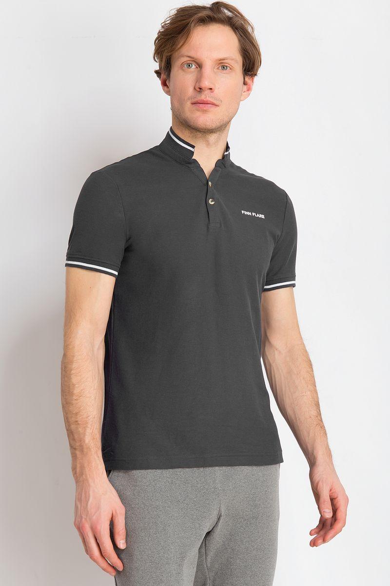Рубашка-поло мужская Finn Flare, цвет: темно-серый. B18-21039. Размер XXL (54) рубашка мужская finn flare цвет голубой b18 21023 размер 4xl 58