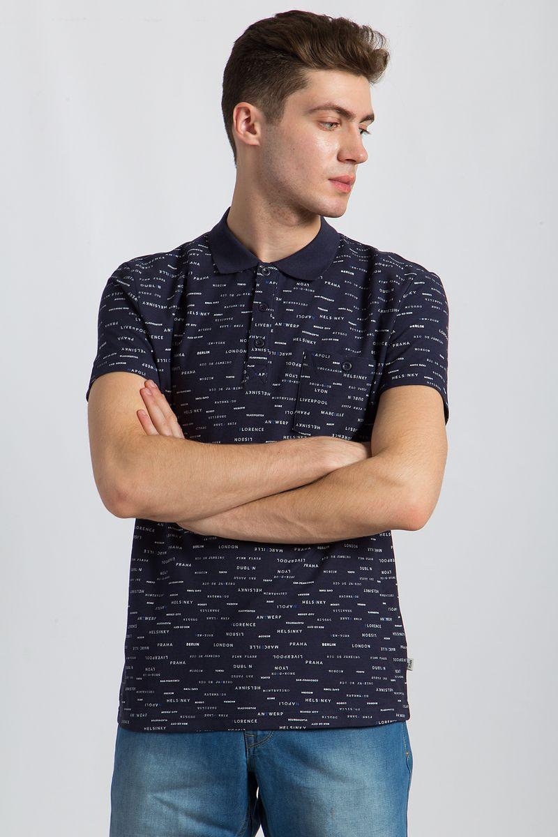 Поло мужское Finn Flare, цвет: темно-синий. B18-21034. Размер L (50) рубашки timberland рубашка