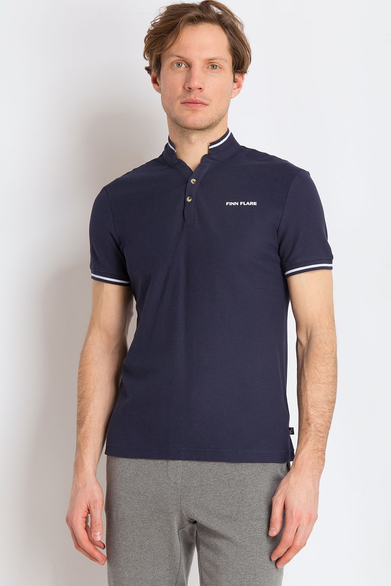 Рубашка-поло мужская Finn Flare, цвет: темно-синий. B18-21039. Размер M (48)