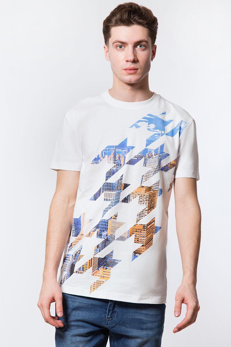 Футболка мужская Finn Flare, цвет: белый. B18-21028. Размер 4XL (58) рубашка мужская finn flare цвет голубой b18 21023 размер 4xl 58