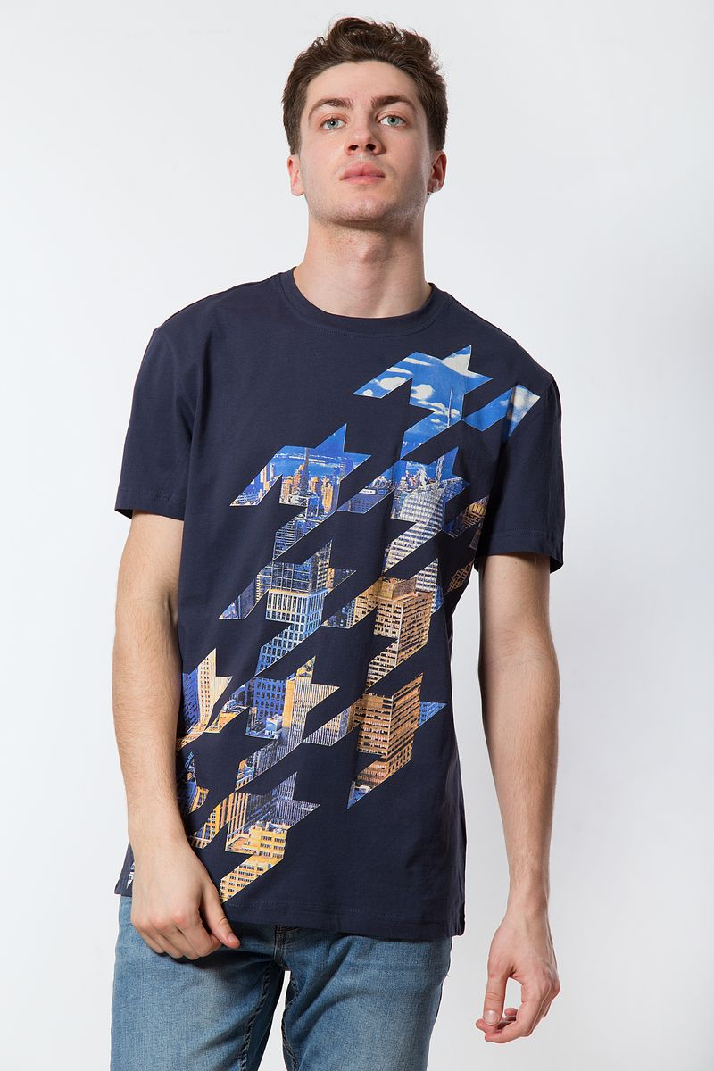 Футболка мужская Finn Flare, цвет: темно-синий. B18-21028. Размер 4XL (58) рубашка мужская finn flare цвет голубой b18 21023 размер 4xl 58