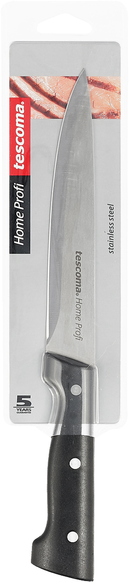 """Порционный нож """"Tescoma"""" высшего качества предназначен для профессионального и  домашнего использования, а также для универсального  использования при обработке продуктов. Нож  изготовлен из высококачественной  нержавеющей стали. Лезвие сформировано и заточено для  достижения максимального эффекта при использовании. Очень удобная и эргономичная  ручка с тремя массивными заклепками не позволит  выскользнуть ножу из вашей руки.Можно мыть в посудомоечной машине. Порционный нож """"Tescoma"""" предоставит вам все необходимые возможности в успешном  приготовлении пищи.  Длина ножа: 29 см."""