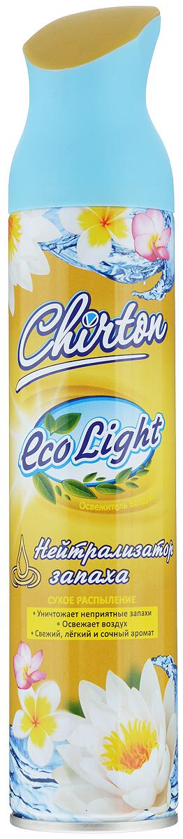 """Освежитель воздуха Chirton """"ECO Light"""", содержащий высококачественные натуральные ароматизаторы, не просто маскирует неприятные запахи, а быстро, легко и эффективно их уничтожает. Он имеет свежий, легкий и сочный аромат, который надолго наполнит ваш дом отличным настроение. Уникальный триггер обеспечивает очень удобное использование освежителя и его мягкое сухое микрораспыление без капель и брызг.  Товар сертифицирован. Уважаемые клиенты!  Обращаем ваше внимание на возможные изменения в дизайне упаковки. Качественные характеристики товара остаются неизменными. Поставка осуществляется в зависимости от наличия на складе."""