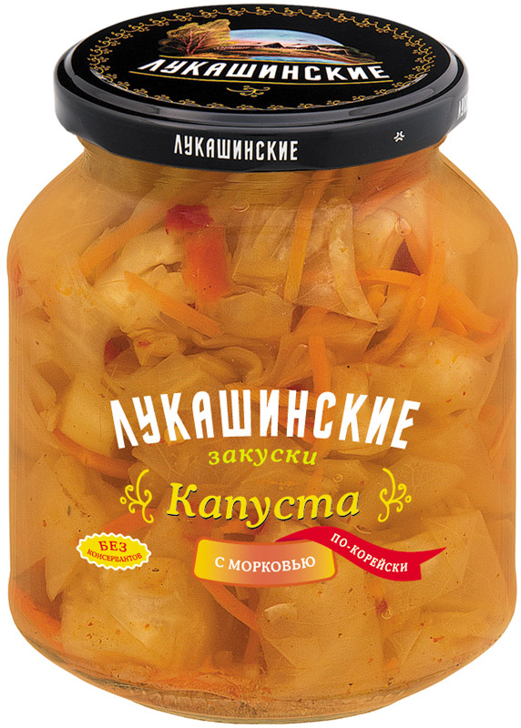 Лукашинские Капуста по-корейски с морковью, 340 г лукашинские баклажаны по крымски с томатами 460 г