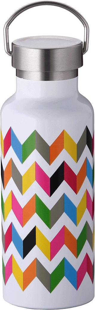 Бутылка-термос French Bull Ziggy, цвет: белый, мультиколор, 500 мл. VF-50SSUVF-50LZI ZiggyДвойные стенки из нержавеющий стали сохраняют холодные напитки холодными, а горячие — горячими.