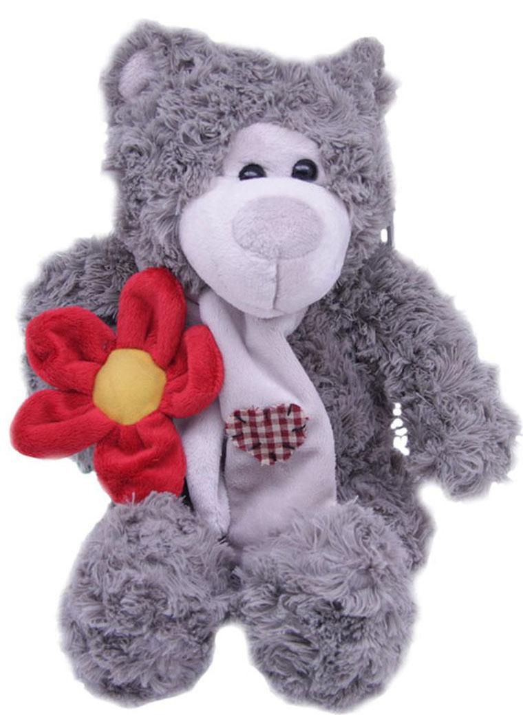 Magic Bear Toys Мягкая игрушка Мишка Эдгар в шарфе с цветком 25 см magic bear toys мягкая игрушка медведь с заплатками в шарфе цвет коричневый 120 см