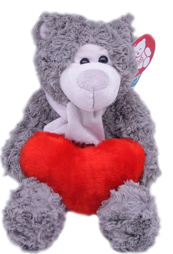 Magic Bear Toys Мягкая игрушка Мишка Эдгар в шарфе с сердцем 25 см magic bear toys мягкая игрушка медведь с заплатками в шарфе цвет коричневый 120 см