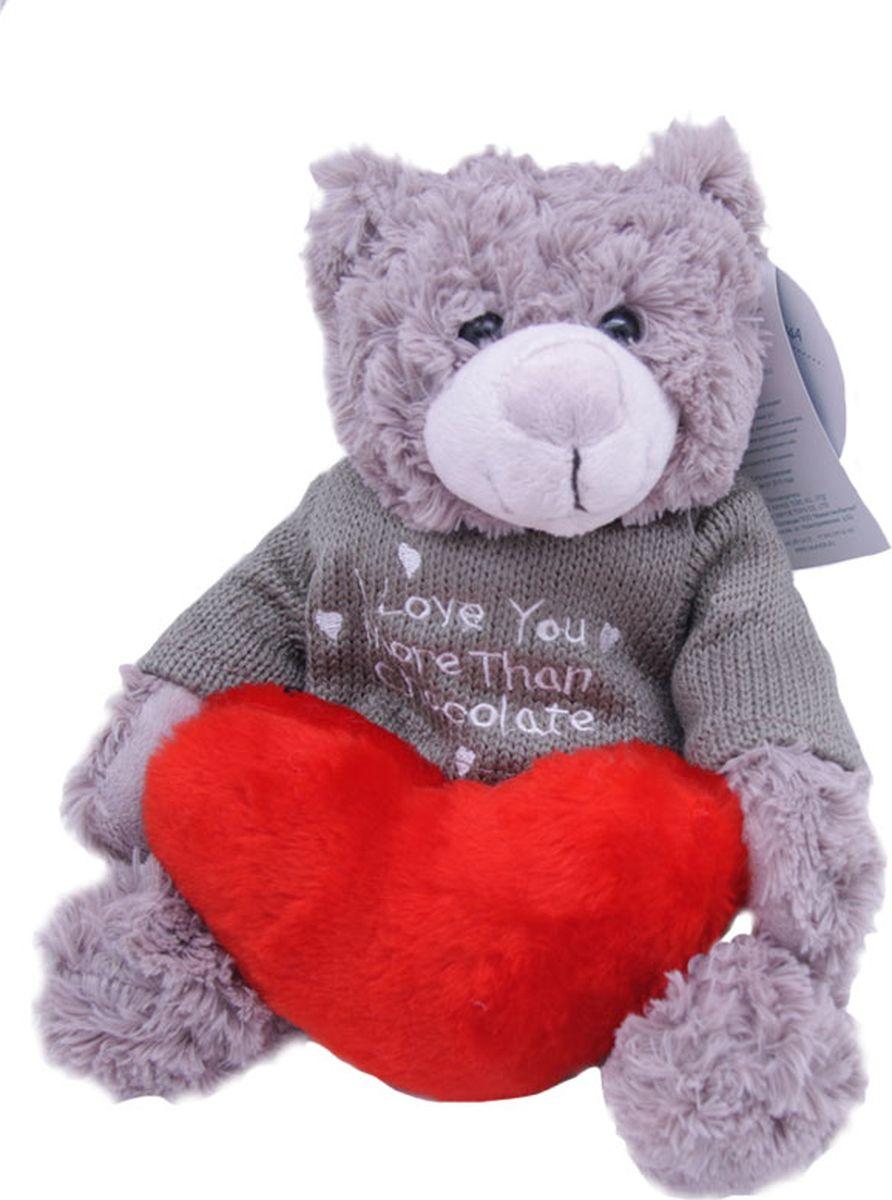 Magic Bear Toys Мягкая игрушка Мишка Рональд в свитере с сердцем 23 см magic bear toys мягкая игрушка мишка рональд в свитере 23 см цвет серый