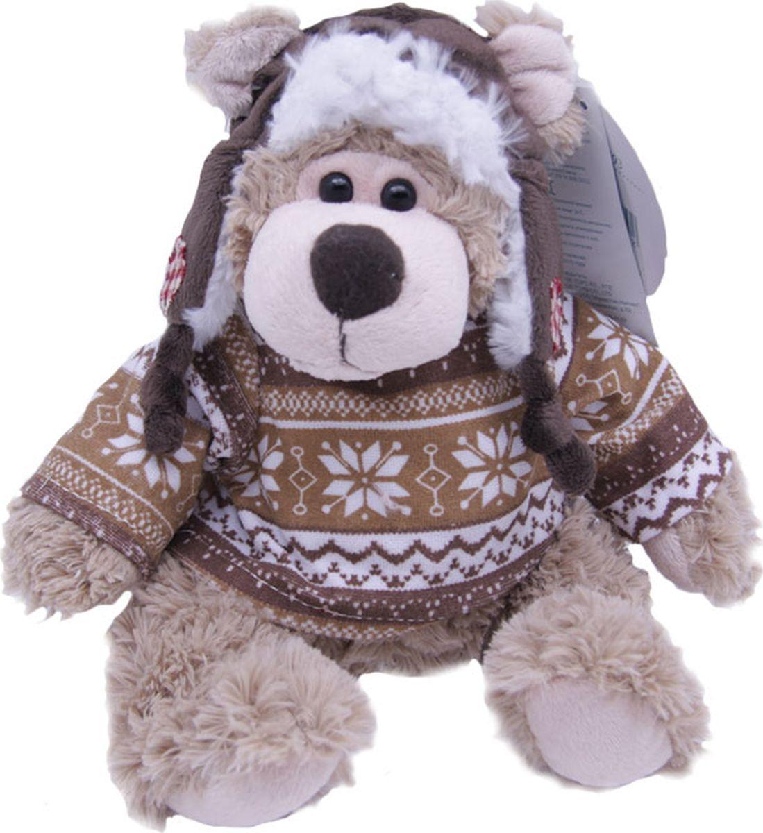 Magic Bear Toys Мягкая игрушка Мишка Рэймонд в шапке-ушанке и свитере 20 см